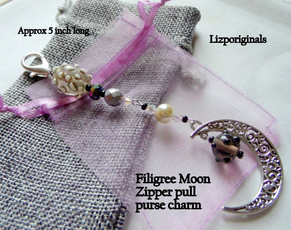 Filigree silver moon zipper pull - half moon journal clip - celestial - crescent moon crystal accessory - 5 inch long purse charm - gift