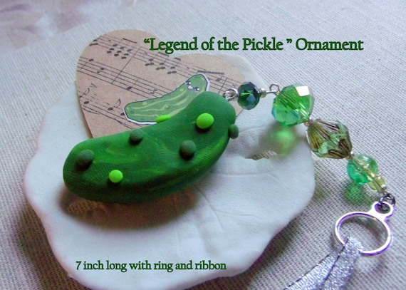 Christmas Pickle - Legend of the pickle ornament - German holiday tradition - green pickle Christmas tree decor - green stocking Stuffer