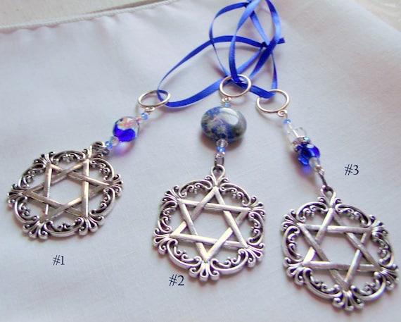 Blue Hanukkah gift - holiday ornament - filigree Star of David charm - hostess gift - Judaica  - car charm - Chanukkah - silver decorations