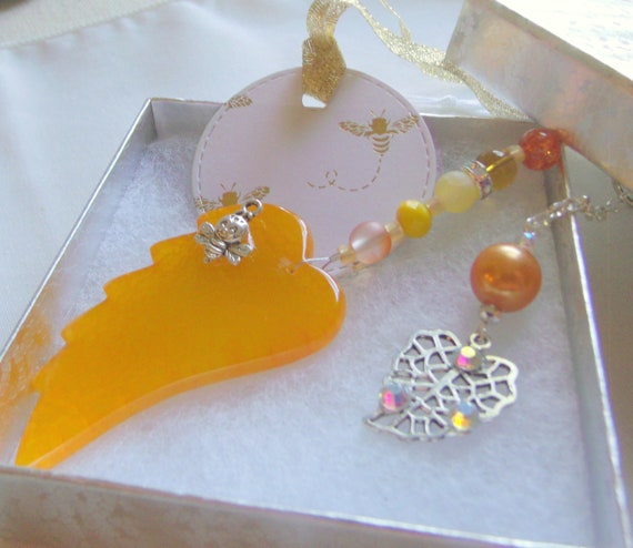 Yellow leaf sun catcher - garden protection - gift for gardener/bee keeper - bright yellow car charm - earring pendant gift set - angel wing