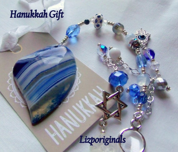Hanukkah gift - blue agate sun catcher - unique Jewish wedding - custom Evil eye keepsake - Stand for Israel - Star of David charm - Hamsa