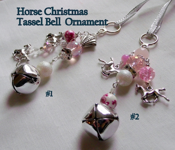 Pink horse ornament- wind chime with bells - Christmas - blue barn charm - horse lover - wild pink horse  - Girls riding gift - equestrian