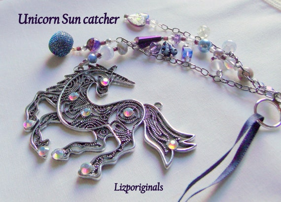 Unicorn sun catcher - purple beaded patio art - window ornament - magic horse gift - back to college - metallic filigree unicorn  charm