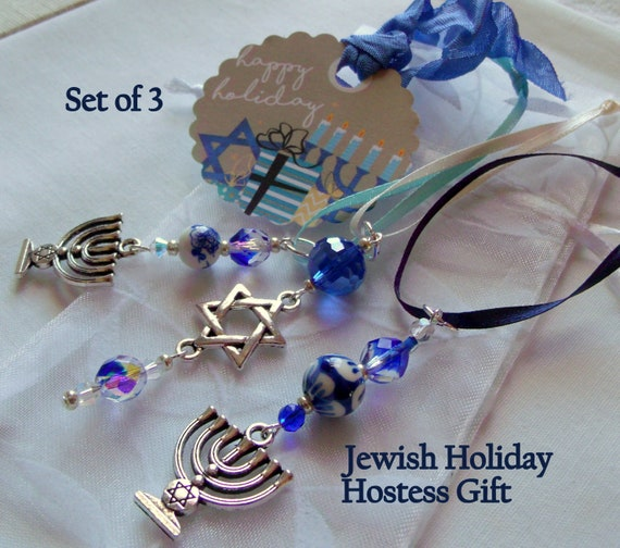 Hanukkah  crystal ornaments - holiday gift - blue white ceramic beads - home decor -  set of 3 Star of david /menorah charms - party favors