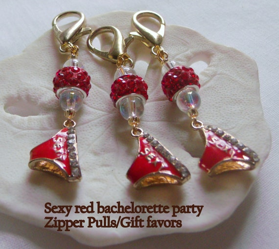 Red Bachelorette Gifts-  red hot panties charms - adult women  - for the naughty Party - girls night out - Vegas style favors -Lizporiginals