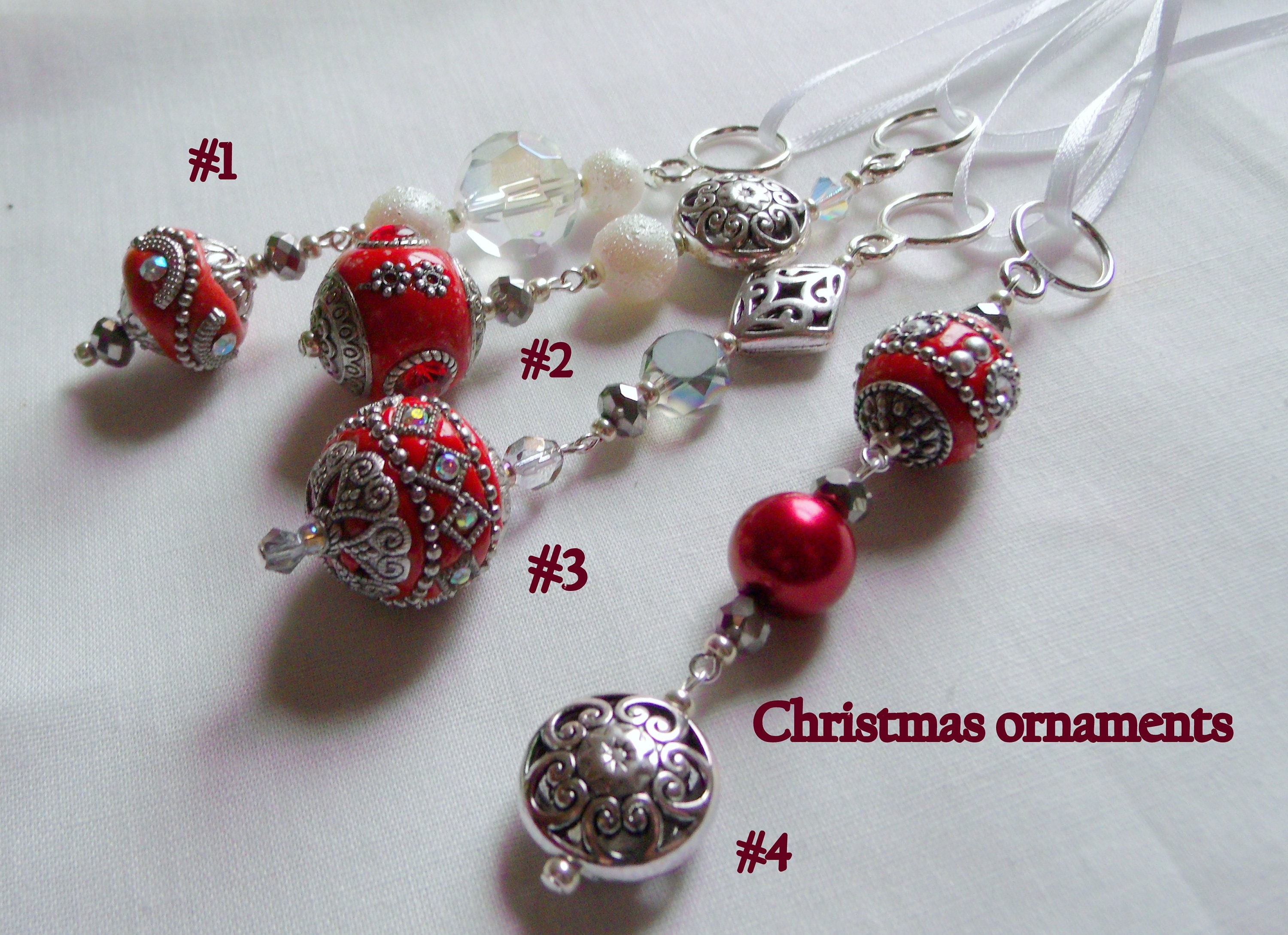 beaded christmas ornaments crimson red icicles unique holiday gift tree ornaments glass christmas tree hangers silver ornament