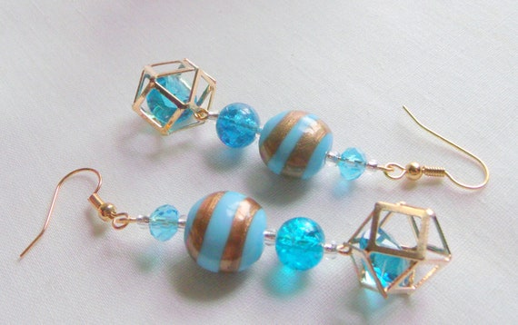 Aqua earrings - pink blue dangle earrings - silver flower earrings - summer beach - stylish vacation jewelry - gold crystal cage  bead