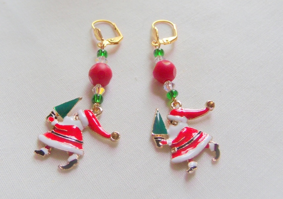 Cute mini Santa earrings - red Christmas jewelry -holiday gift - stocking suffer - enamel Santa charm - red berry Santa earrings