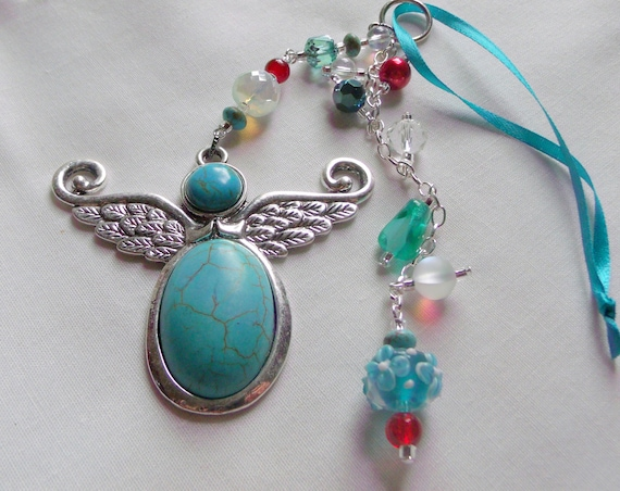 Turquoise angel charm - southwest Christmas ornament - take care gift - angel tassel pendant - crystal angel - holiday - Arizona vacation