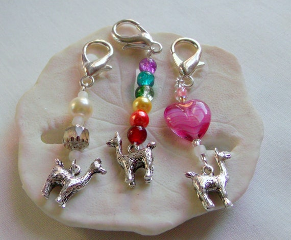 Llama party favors - kid birthday party gifts - zipper pulls - animal journal charms -  back to school gift - shower favors - rainbow gifts