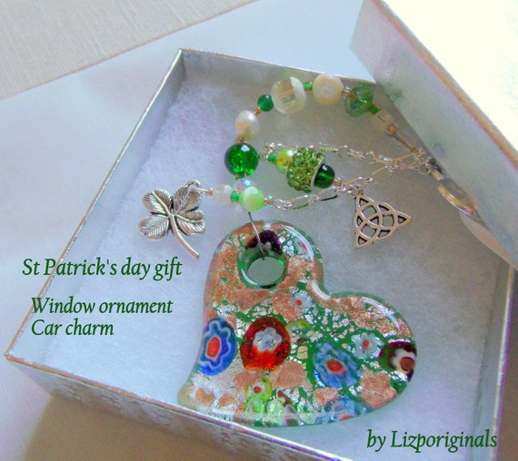 St Patrick's Day home decor - flower glass heart - Celtic knot charm - shamrock - Boston Irish gift - Car charm - Irish club - sun catcher