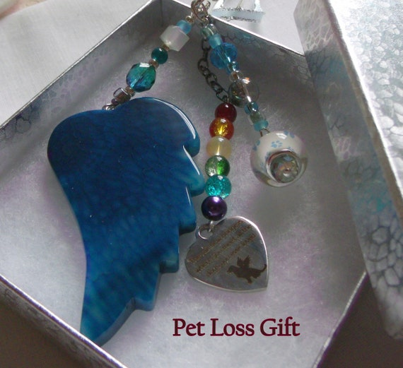 Pet loss gift - aqua angel wing - agate pendant - Sympathy gift - memento - fur baby - turquoise beads - loss of pet - gift box set