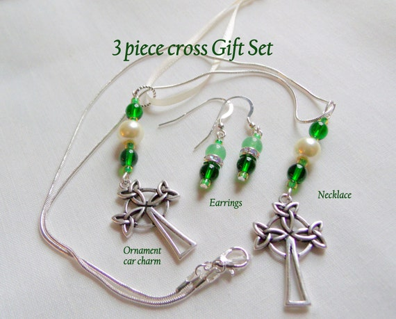 St Patrick's Day gift set - green cross necklace - rhinestone earrings - Celtic cross ornament - holy car charm - 3 piece religious gift