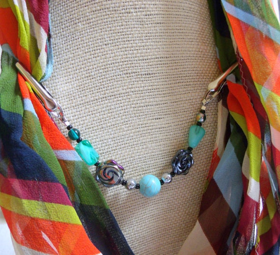 Southwest shawl clip - turquoise beaded sweater guard - rose scarf clip - for poncho and cape - wrap - swimwear cover up - Pashmina pin