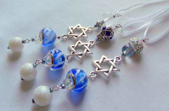 Hanukkah ornaments - small gift  set - blue crystals - hanging home decor - star of David - set of 3 -  Jewish design - Lizporiginals
