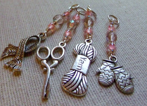 Pink stitch markers - set/ 4  --- scissor- yarn - knitting accessory - scarf - sweater charms -  crochet gift - knitter -  beads