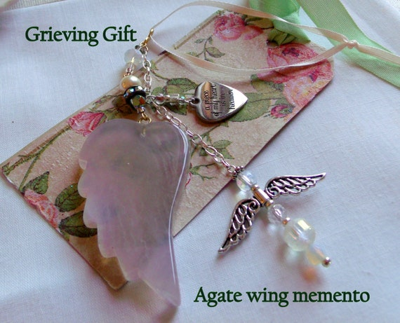 Memory grief gift - Custom Sympathy memento - Angel wing ornament -  Loss of girl friend - memorial charm -  funeral gift - remember me