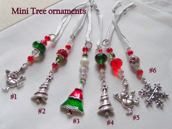 Red Christmas ornaments -  charming mini tree decor - office grab gift - tree decoration - Snowman charm ornaments -  snowflake charm