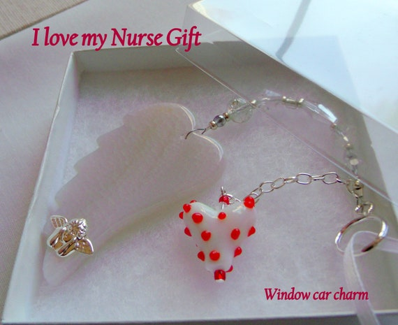 Nurse Graduation gift - cherish your nurse - custom nursing appreciation - RN agate wing - guardian angel car charm - Nurses day - Thank you