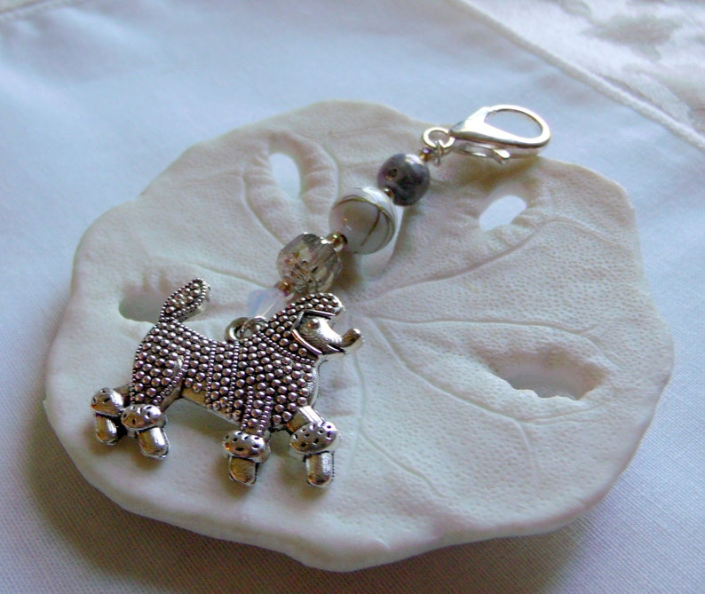 american poodles silver poodle large bag charm Gift for poodle groomer thank you gift poodle mom show poodle car bling