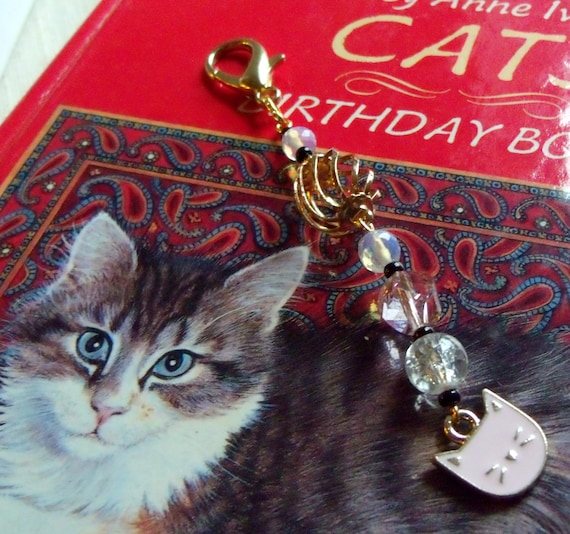 Pink cat charm zipper pull - gold cat  wristlet charm - journal clip for cat books - for little girls  - back pack clip -  cat club Gift