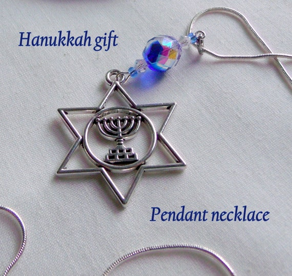 Hanukkah gift - blue star of David necklace - simplicity jewelry - Judaica - Jewish holiday gift - Menorah - snake chain necklace - charm