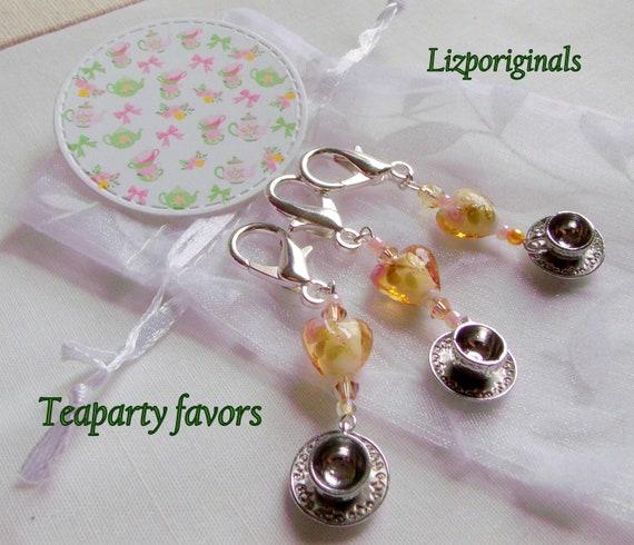 Honey Tea party favors - tea cup - gift bag clips - herbal - lamp work hearts - English garden club - wedding favors - women tea party