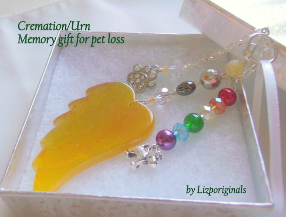 Dog cremation box gift - pet loss - memorial - sympathy gift - yellow wing - angel pet memento -  my puppy - beloved companion - paw charm