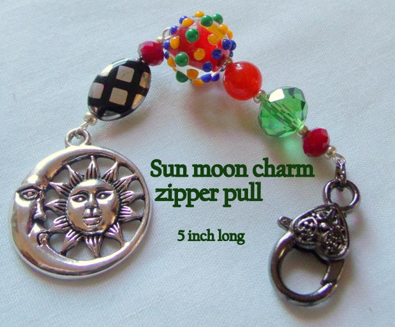 Sun moon charm zipper pull - bright beaded notebook accessory - celestial -  red lamp work  - Moon - bag - journal - tote - Easter gift