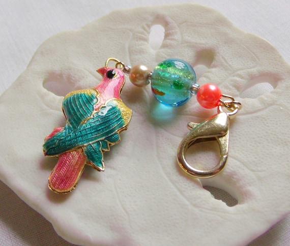 Bright cloisonne parrot bag charm - exotic birds - amazon bird - south america inspired - metallic bird zipper pull - gift for bird lover