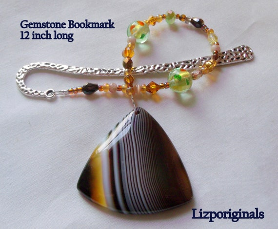 Gemstone bookmark -  page marker - shepherds hook - honey triangle - striped pendant - fantasy reading gift - book club token - for readers