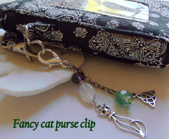Irish cat charm zipper pull - purse clip with Celtic symbol - green cat travel journal charm -  good luck gift - Boston Irish club gift