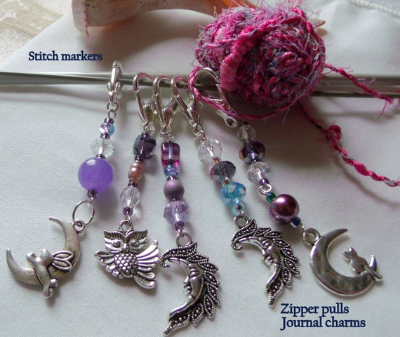 Purple crystal zipper pulls -  stitch markers - scissor fobs  - moon  silver charm - journal - knitting group gift - favors - night time