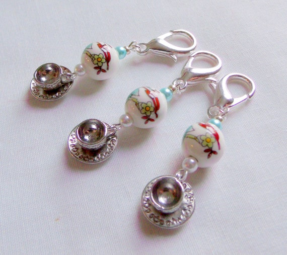 Tea cup zipper pulls - English high tea gifts - set of 3 cup charms - green tea party - aqua Chinese flower bead - Asian inspired favors