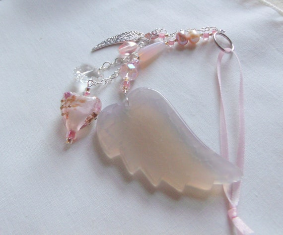 Loss of baby girl gift - grieving memento - car charm - window pendant - agate wing - silver wing - always in my heart - funeral memory