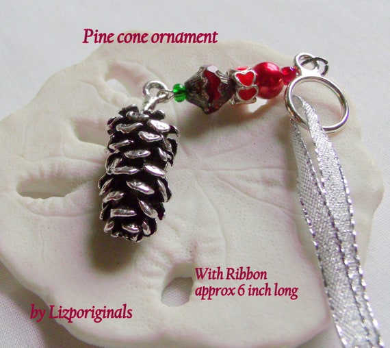Silver pine cone ornament - housewarming gift - woodland decor - rustic style - log home accents - cabin - red Christmas tree ornament