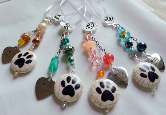 Poodle car charm - dog carrier accessory  -  love my poodle ornaments - bag charms - paw zipper pulls - show poodle club - for breeders