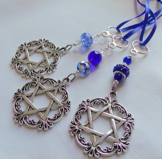 Blue Hanukkah gift - holiday ornament - filigree Star of David charm - hostess gift - Judaica  - car charm - Chanukkah - silver decorations