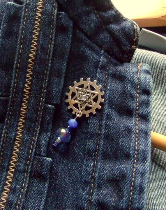 Stand for Israel push pins - lapel charm - unisex star of david brooches - steampunk pins - blue crystal purse pin - collar pins for women