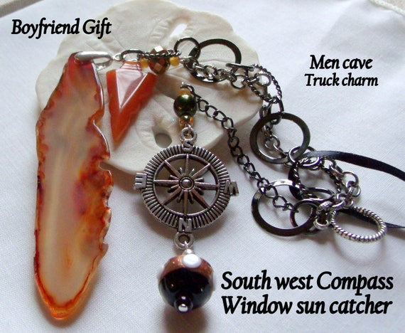 Southwest charm sun catcher - orange geode agate slice - scorpion /cowgirl /lizard/compass charms - custom truck mirror gift - men cave
