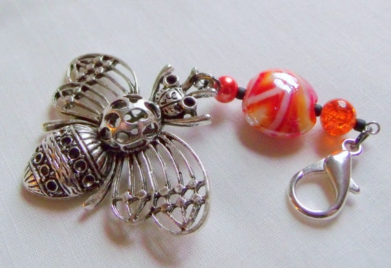 Queen bee journal charm - large honey bee bag clip - bee keepers gift - orange beaded tote charm - save the bee's - honey bee book charm