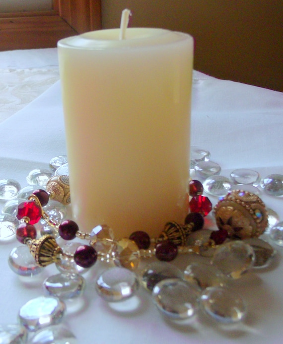 Red candle garland - multi use decor ideas - gold and cream - dark rose bead - table decorations - pillar- matching tree ornaments- gift set