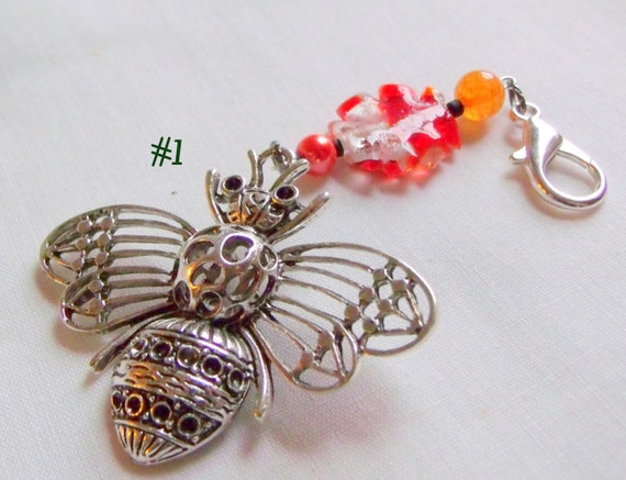 large bee bag charm - Queen bee - journal -  honey bee clip - beekeepers gift - orange bee bead gift - save the bee's -silver filigree bee