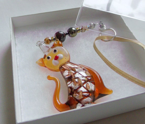 Honey bead Cat ornament - lamp work silver glass cat - brown tabby cat - Cat lover - spring tiger cat gift - hand blown glass cat memento
