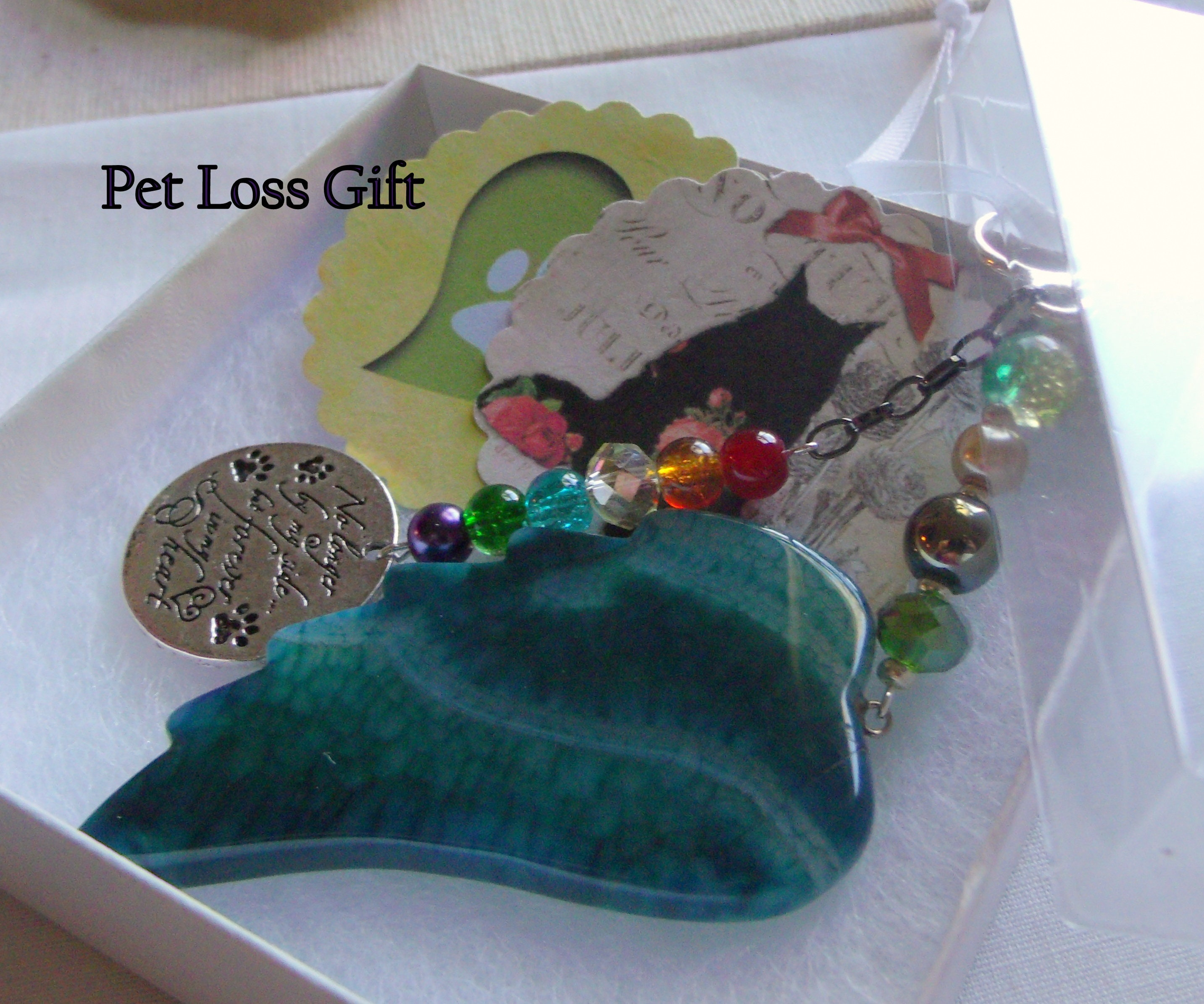 memorial cherish your dog Pet loss gift green angel wing memento agate pendant Dog loss for cremation box Pet Sympathy gift