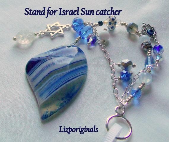 Blue heart sun catcher - Hanukkah gift - unique Jewish wedding - custom Evil eye keepsake - Stand for Israel - Star of David charm - Hamsa