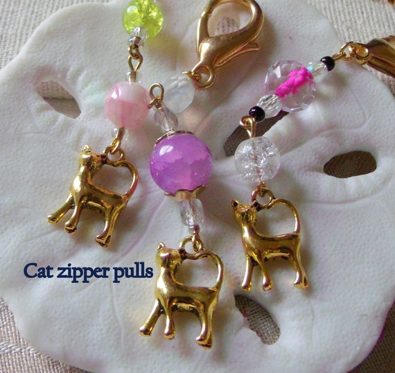 Cat zipper pulls - Gold cat  charm   cat lover gift  - pet -  journal - tote accessory - lilac pink colors -  teen girl gift - LizPOriginals