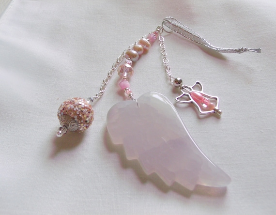 New baby girl welcome gift - nursery wall hanging - protection charm -  agate angel wing - pink bead window pendant - little princess