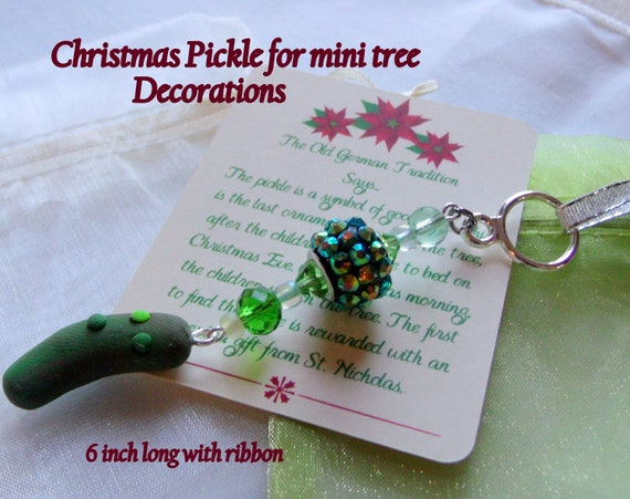 Christmas snowbird ornaments- mini tree decorations - light travel gifts - for your home away - vacation christmas tree - green glitz pickle