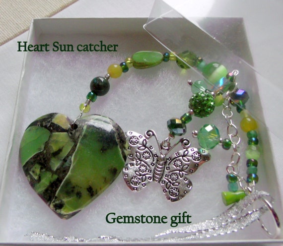 Green gem heart sun catcher - butterfly charm - lotus spa gift - green is for hope - green heart traditions - window ornament - car charm